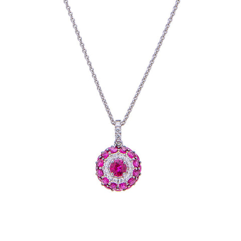 Sabel Collection 18K White Gold Round Ruby with Round Diamond Accents Pendant Necklace