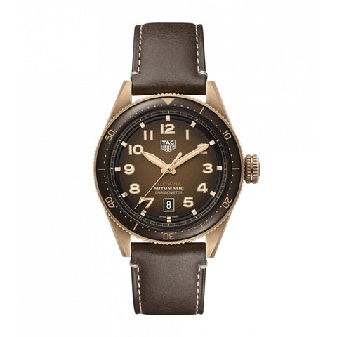 TAG Heuer Autavia Men's Calibre 5 Chronometer Bronze Watch with Smoked Chocolate Brown Dial and Leather Strap