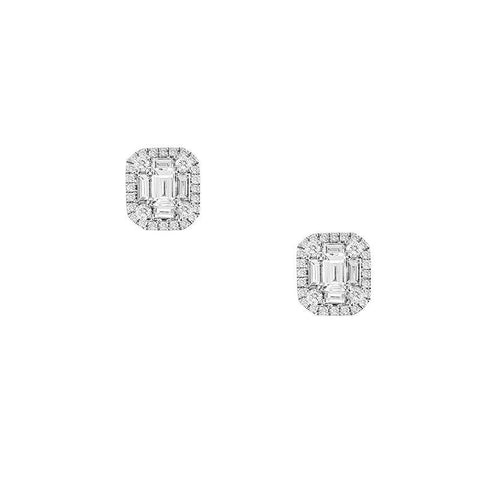 Sabel Collection 14K White Gold Emerald and Baguette Diamond Stud Earrings