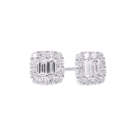 Sabel Collection 14K White Gold Baguette and Round Diamond Stud Earrings