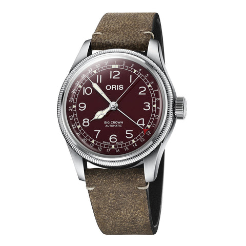 Oris Big Crown Pointer Date Bronze Bezel Watch with Red Dial and Leather Strap