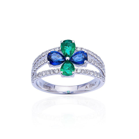 Sabel Collection 18K White Gold Sapphire and Emerald with Diamond Accent Ring