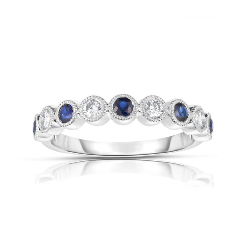 Sabel Collection 14K White Gold Bezel Set Round Sapphire and Diamond Ring