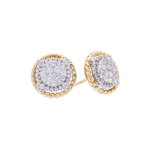 Sabel Collection 18K Yellow and White Gold Diamond Cable Stud Earrings