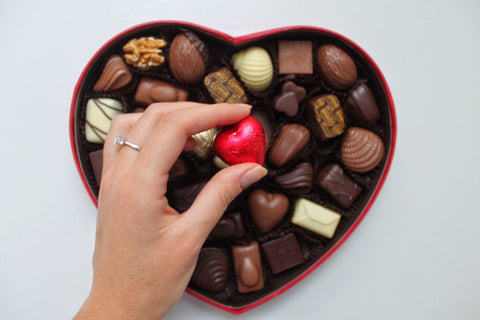Heart shaped box of assorted chocolates