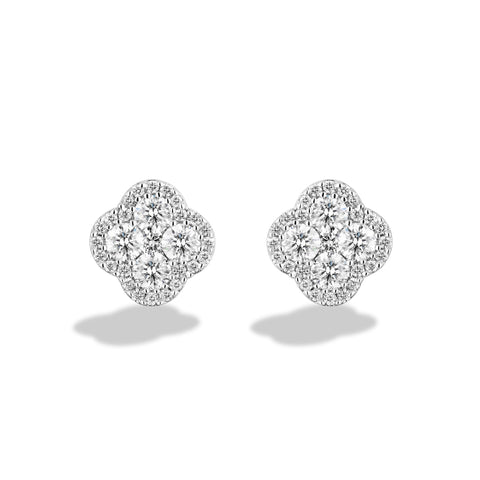 Sabel Collection 18K White Gold Round Diamond Clover Shape Stud Earrings