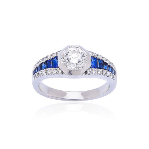 Sabel Collection 18K White Gold Diamond Ring with Sapphire Accents
