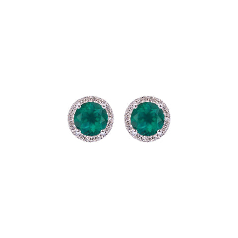 Sabel Collection Birthstone and Diamond Halo Earrings