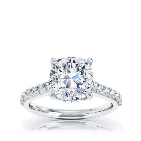 The Studio Collection Cushion Cut Center Diamond with Diamond Gallery and Shank Engagement Ring
