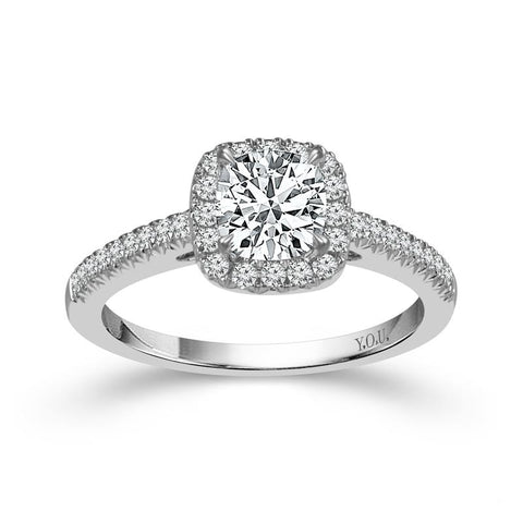 Fink's Exclusive 14K White Gold Cushion and Round Diamond Halo Engagement Ring