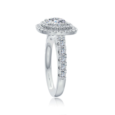 The Studio Collection Cushion Cut Diamond Double Halo Engagement Ring