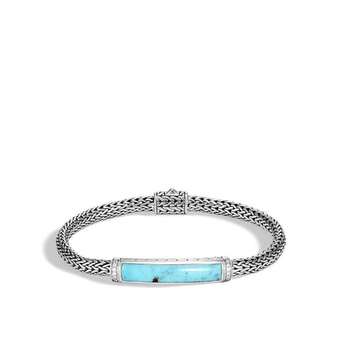 John Hardy Classic Chain Sterling Silver Turquoise and Diamond Station Bracelet
