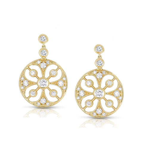 Sabel Collection 14K Yellow Gold Diamond Cutout Earrings
