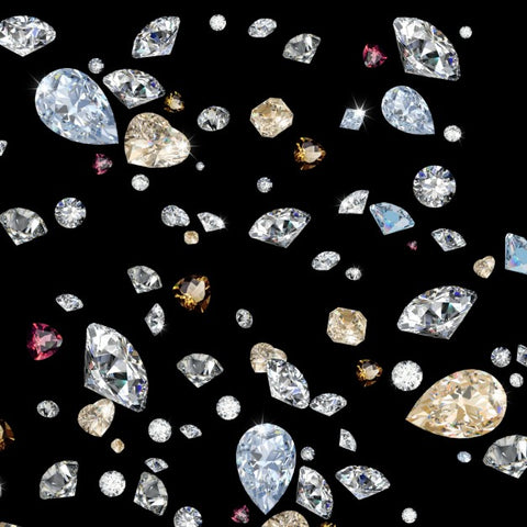 Different color and shaped diamonds falling in front of black background