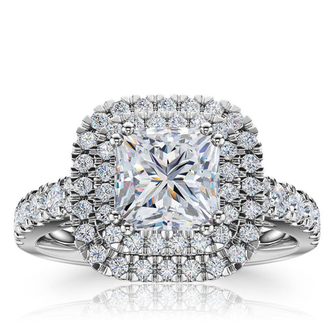 The Studio Collection Princess Cut Diamond Double Halo Engagement Ring