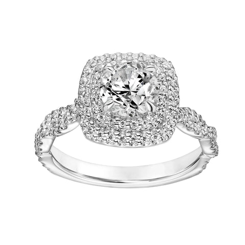 Fink's Exclusive 14K White Gold Round Diamond Double Halo Twist Shank Engagement Ring