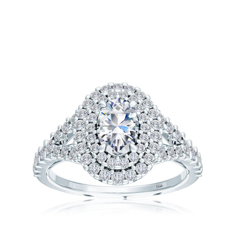 The Studio Collection Oval Diamond Double Halo Split Shank Engagement Ring
