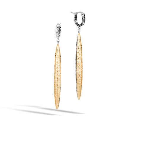 John Hardy Classic Chain Sterling Silver and 18K Yellow Gold Hammered Drop Earrings