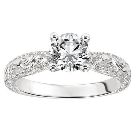 Fink's Exclusive 14K White Gold Round Diamond Solitaire Engraved Shank Engagement Ring