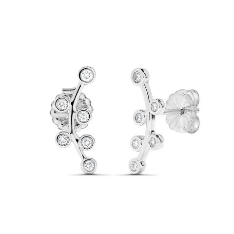 Sabel Collection 18K White Gold Floral Diamond Climber Earrings