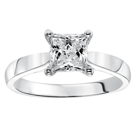 Fink's Exclusive 14K White Gold Princess Diamond Solitaire Four Prong Engagement Ring