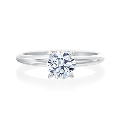 Fink's Exclusive 14K White Gold Four Prong Round Diamond Solitaire Engagement Ring