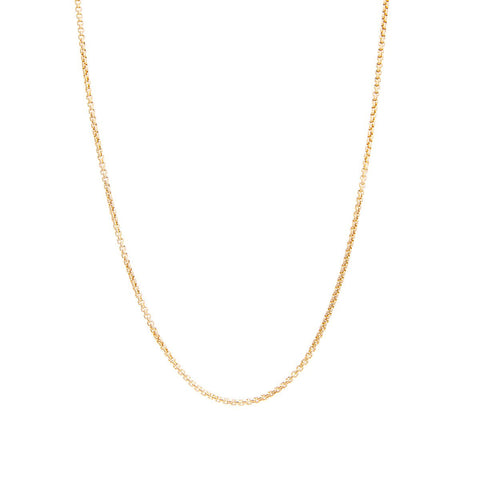 Yellow Gold round Hollow Box Chain Necklace