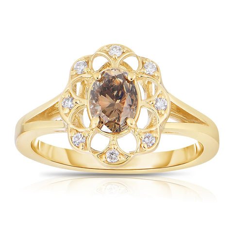 Sabel Collection 14K Yellow Gold Oval Mocha Diamond Ring With White Diamond