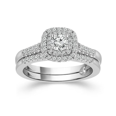 Fink's Exclusive Round Cut Diamond Double Halo Engagement Ring Set
