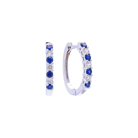 Sabel Collection 18K White Gold Sapphire and Diamond Oval Huggie Hoop Earrings