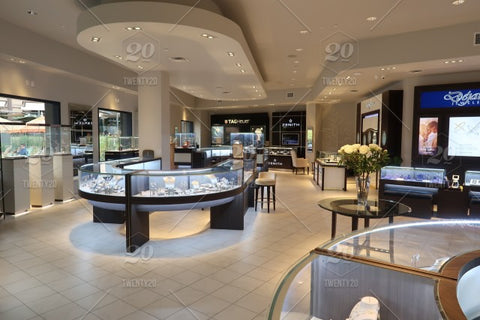 Inside a jewelry store and all of the displays