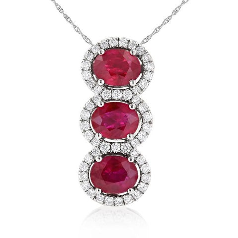 Sabel Collection 14K White Gold Three Stone Oval Ruby and Diamond Halo Pendant