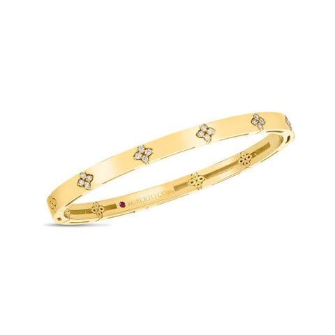 Roberto Coin Love in Verona 18K Yellow Gold Bangle with Diamond Accents