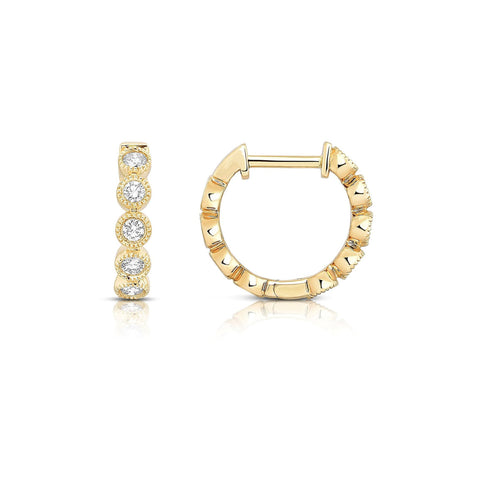 Sabel Collection 14K Yellow Gold Diamond Hoop Earrings with Milgrain Accents