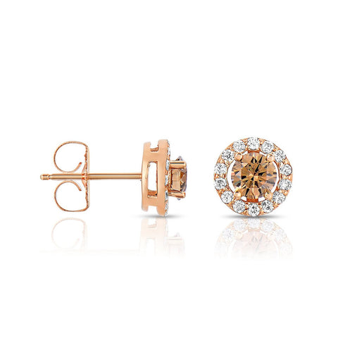 Sabel Collection 14K Rose Gold Mocha and White Diamond Stud Earrings