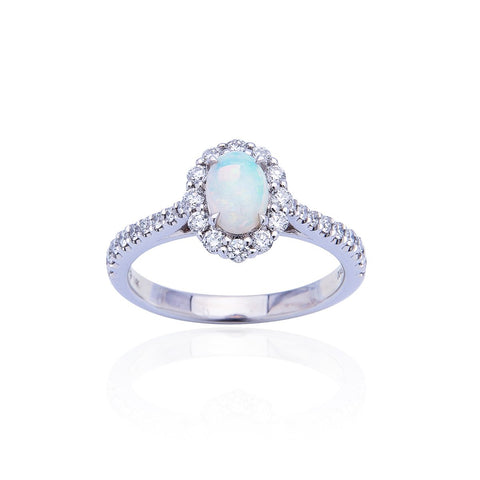 Sabel Collection 14K White Gold Oval Opal and Diamond Halo Ring