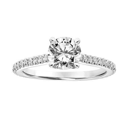Fink's Exclusive 14K White Gold Round Diamond Pave Shank Engagement Ring
