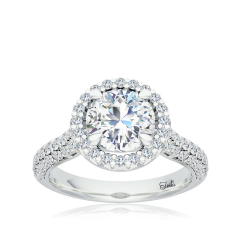 The Studio Collection Round Diamond Halo Pavé Shank Engagement Ring
