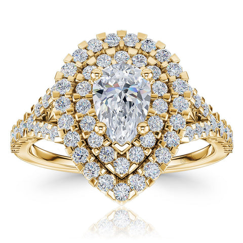 The Studio Collection Pear Shape Diamond Double Halo Split Shank Engagement Ring