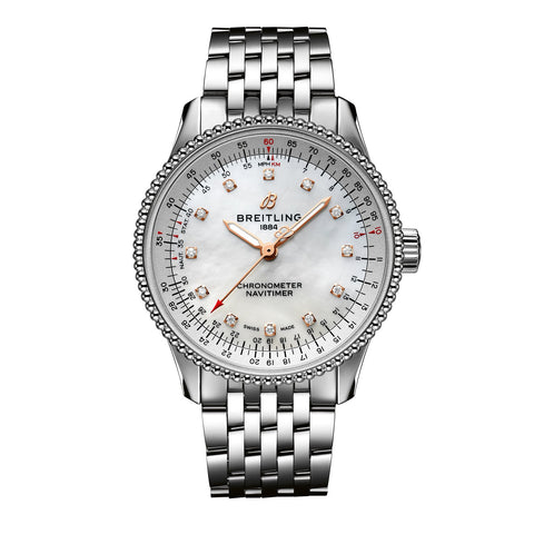 Breitling Navitimer Automatic 35 Steel with Mother-of-Pearl and Diamonds