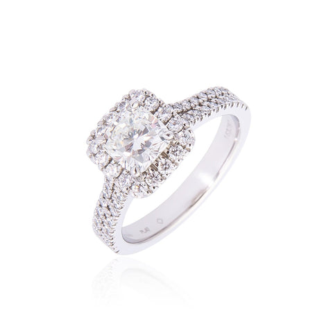 Fink's Exclusive Platinum Cushion Cut Diamond with Diamond Halo and Two-Row Shank Engagement Ring