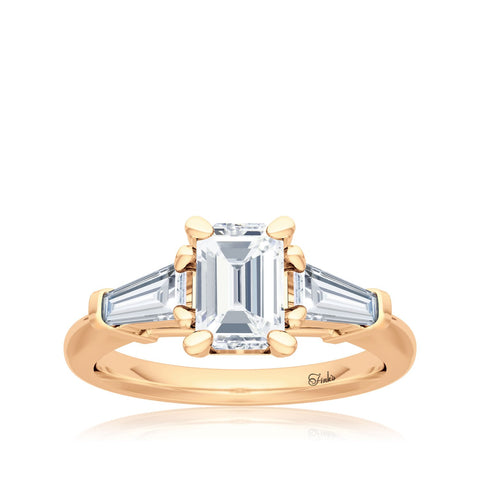 The Studio Collection Emerald and Baguette Diamond Engagement Ring