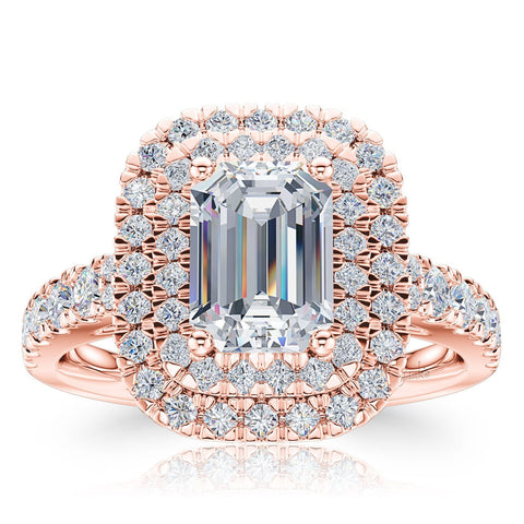 The Studio Collection Emerald Cut Diamond Double Halo Engagement Ring