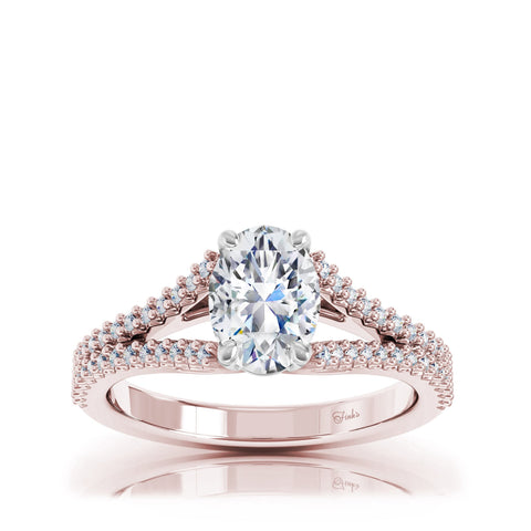 The Studio Collection Oval Center Diamond and Split Diamond Shank Engagement Ring