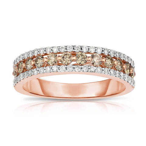 Sabel Collection 14K Rose and White Gold Round Fancy and White Diamond Three Row Ring
