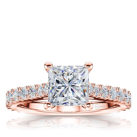The Studio Collection Princess Cut Diamond Shank Accent Engagement Ring