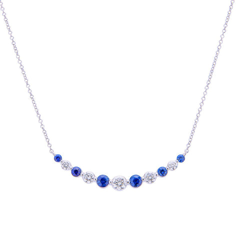 Sabel Collection 18K White Gold Round Diamond and Round Sapphire Curved Bar Necklace