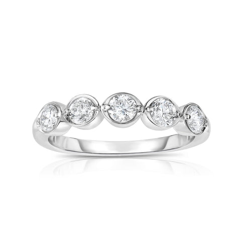 Five Round Diamond Ring in White Gold