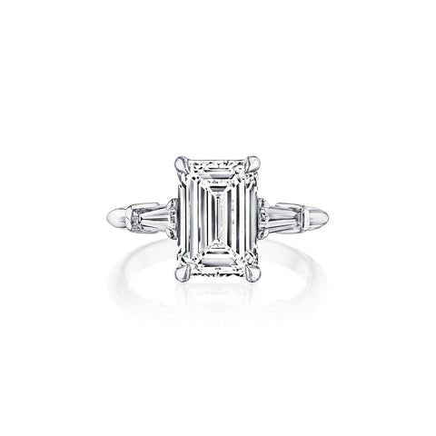 Fink's Exclusive Platinum Emerald and Baguette Side Stone Engagement Ring