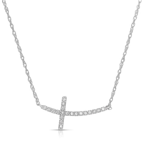 Sabel Collection 14K White Gold Sideways Cross Necklace with Diamonds Fink's